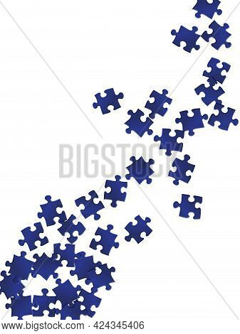 Abstract Crux Jigsaw Puzzle Dark Blue Pieces Vector Background. Group Of Puzzle Pieces Isolated On W