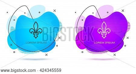 Line Fleur De Lys Icon Isolated On White Background. Abstract Banner With Liquid Shapes. Vector