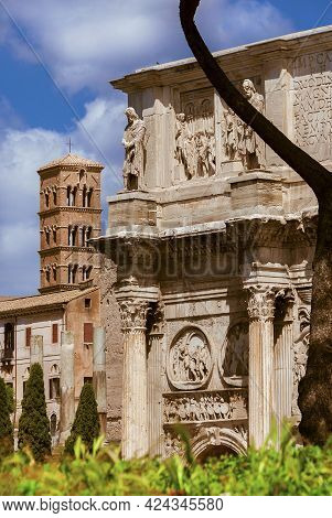Arch Of Constantine, Temple Of Venus Ancient Ruins And Old Medieval Bell Tower In The Center Of Rome