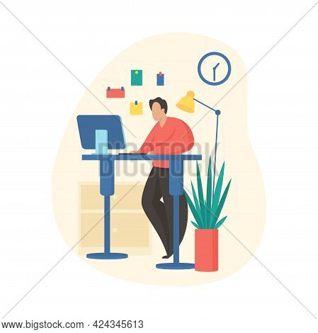 Man Works At Computer Standing. Distribution Load On Back With Improved Muscle Tone. Wellbeing Relax