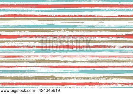 Watercolor Handdrawn Parallel Lines Vector Seamless Pattern. Material Interior Wall Decor Design. Vi