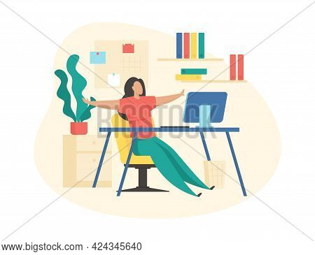 Muscle Relaxation During Work. Woman Watches Video Fitness And Repeats Movements. Restoring Body Ton