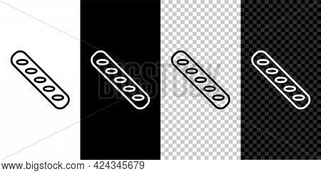 Set Line French Baguette Bread Icon Isolated On Black And White Background. Vector
