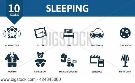 Sleeping Icon Set. Contains Editable Icons Well Sleep Theme Such As Alarm Clock, Bed, Full Moon And