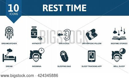 Rest Time Icon Set. Contains Editable Icons Well Sleep Theme Such As Dreamcatcher, Ear Plugs, Bedtim