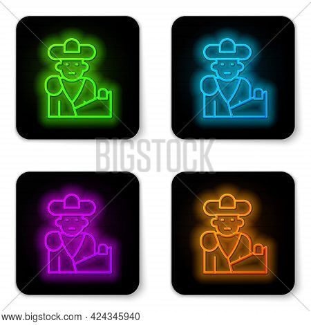Glowing Neon Line Spain Bullfight, Matador Icon Isolated On White Background. Traditional Spanish En