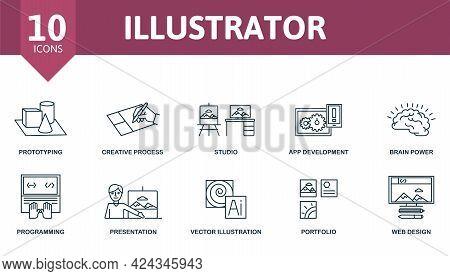 Illustrator Icon Set. Contains Editable Icons Web Design Theme Such As Prototyping, Studio, Brain Po