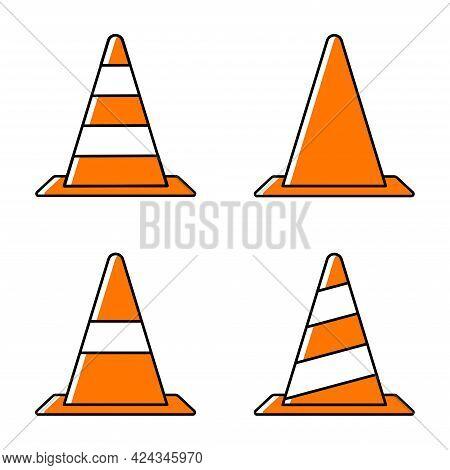 Set Of Traffic Cone Icon. Orange Traffic Cone Icon Set. Construction Sign.