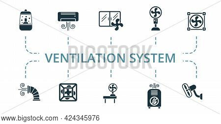 Ventilation System Icon Set. Contains Editable Icons Ventilation Equipment Theme Such As Air Dust Sy