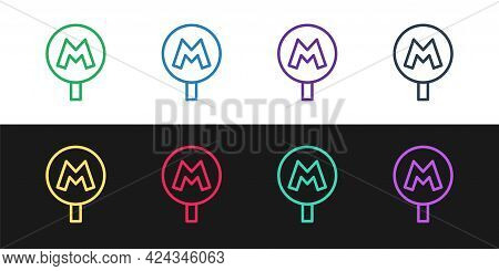 Set Line Metro Or Underground Or Subway Icon Isolated On Black And White Background. Vector