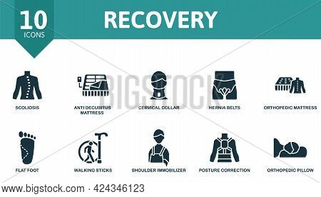 Recovery Icon Set. Contains Editable Icons Trauma Rehabilitation Theme Such As Scoliosis, Cervical C
