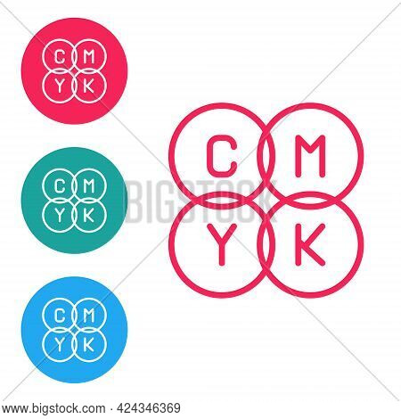 Red Line Cmyk Color Mixing Icon Isolated On White Background. Set Icons In Circle Buttons. Vector