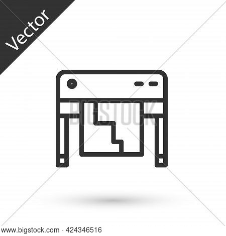 Grey Line Plotter Icon Isolated On White Background. Large Format Multifunction Printer. Polygraphy,