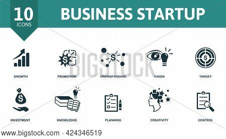 Business Startup Icon Set. Contains Editable Icons Startup Theme Such As Growth, Crowdfunding, Targe