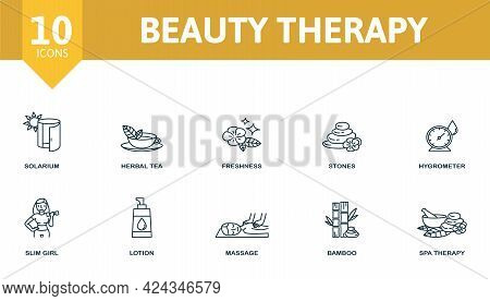 Beauty Therapy Icon Set. Contains Editable Icons Spa Therapy Theme Such As Solarium, Freshness, Hygr