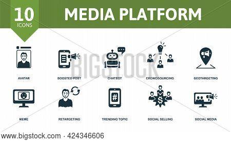 Media Platform Icon Set. Contains Editable Icons Social Media Theme Such As Avatar, Chatbot, Geotarg