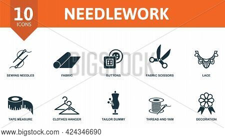 Needlework Icon Set. Contains Editable Icons Sewing Equipment Theme Such As Sewing Needles, Buttons,
