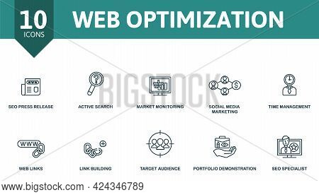 Web Optimization Icon Set. Contains Editable Icons Seo Theme Such As Seo Press Release, Market Monit