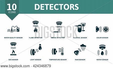 Detectors Icon Set. Contains Editable Icons Sensor Theme Such As Water Quality Sensor, Smoke Detecto