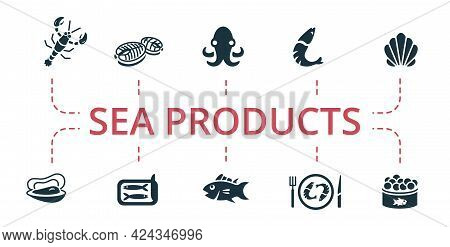 Sea Products Icon Set. Contains Editable Icons Seafood Theme Such As Fish Steak, Oyster, Tuna And Mo
