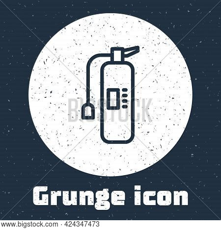 Grunge Line Fire Extinguisher Icon Isolated On Grey Background. Monochrome Vintage Drawing. Vector