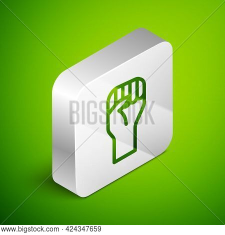 Isometric Line Raised Hand With Clenched Fist Icon Isolated On Green Background. Protester Raised Fi