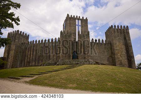 Guimaraes (portugal), June 19, 2021. Guimaraes Castle. Is The Principal Medieval Castle In Guimarães