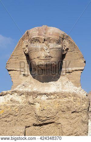 Sphinx Egypt Portrait. Portrait Of The Great Sphinx Of Egypt Close. Egypt, Giza. Vertical Photo