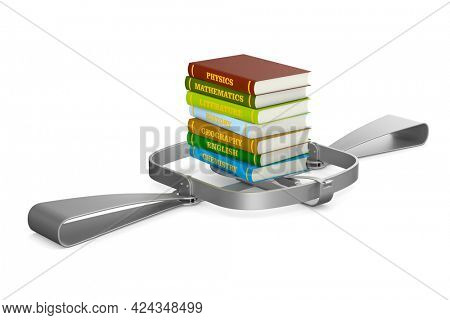 bear trap and stack of hardcover text books on white background. Isolated 3D illustration