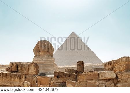 Sphinx Egypt Portrait. Portrait Of The Great Sphinx Of Egypt Close. Egypt, Giza. Many Pigeons On The