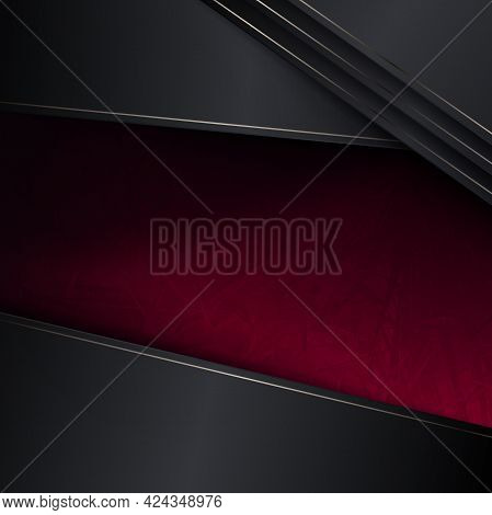 Abstract Illustration With A Gradient Of Red And Gray Shades, Oblique Curtains With A Border