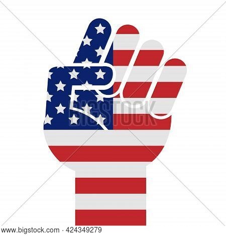 Vector Flat Fist Hand Silhouette With Usa Flag Isolated On White Background