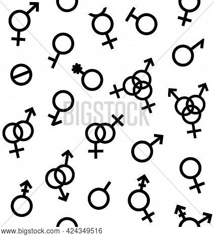Vector Seamless Pattern Of Gender Symbols And Sexual Orientation Isolated On White Background. Male,