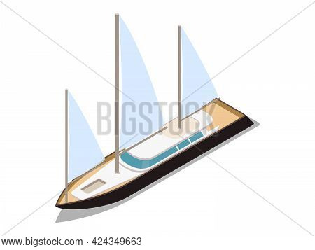 Sailing Ship With White Canvas Isometric Icon Vector Illustration