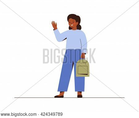 African American School Girl Waves A Hand And Saying Hello Or Bye To School. Smiling Female Teenager