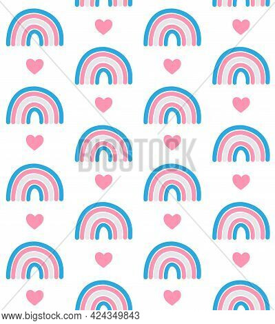 Vector Seamless Pattern Of Hand Drawn Doodle Flat Lgbt Trans Transsexual Transgender Flag Rainbow An