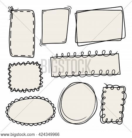 Set Of Hand Drawn Abstract Frames Isolated On A White Background. Doodle, Simple Outline Illustratio