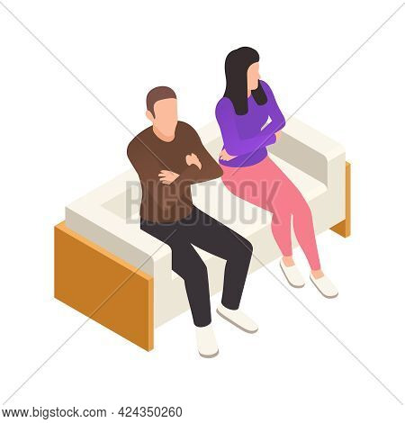 Offended Couple Upset With Each Other On Counselling Interview Isometric Icon Vector Illustration