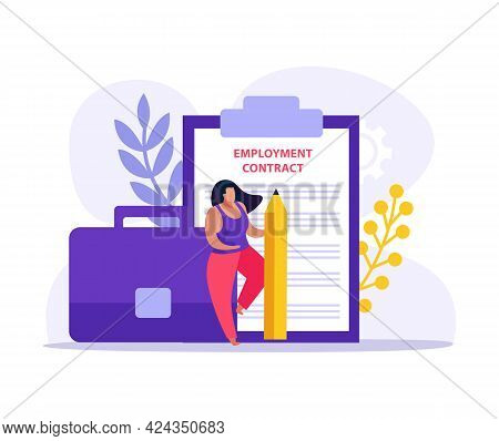 Employment Contract Document Icon With Paper Character Pencil And Briefcase Flat Vector Illustration