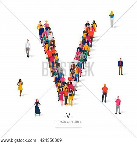 A Large Group Of People Is Standing In Colored Clothes In The Shape Of The Letter V. The Concept Of