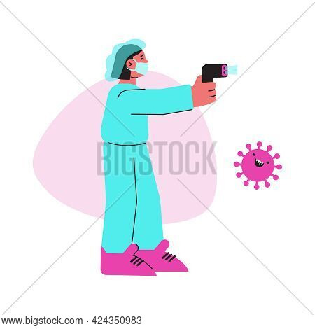 Flat Coronavirus Icon With Medical Worker In Protective Mask Holding Infrared Thermometer Vector Ill