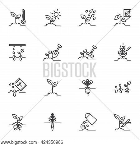 Farm, Agriculture Line Icons Set. Linear Style Symbols Collection, Outline Signs Pack. Gardening Rel