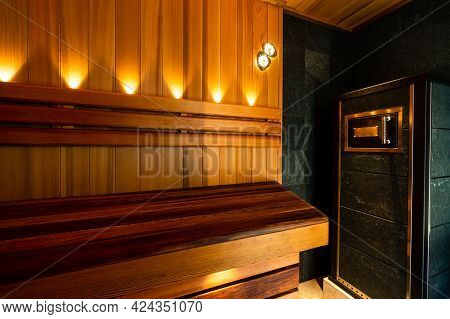 The Red Canadian Cedar Finnish Sauna Interior With Lights