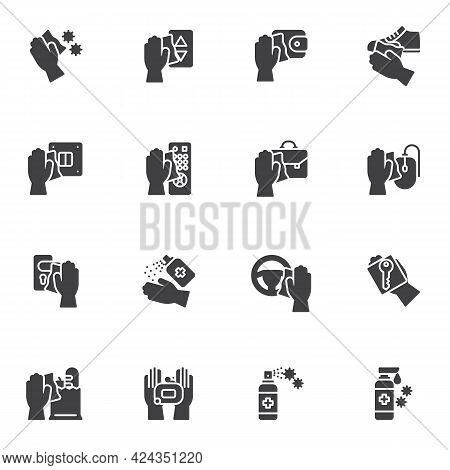 Disinfection And Sterilization Vector Icons Set, Modern Solid Symbol Collection, Filled Style Pictog