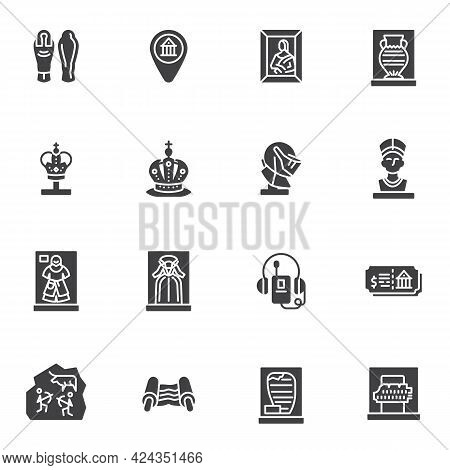 Museum Exhibition Gallery Vector Icons Set, Modern Solid Symbol Collection, Filled Style Pictogram P