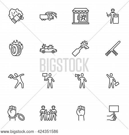 Protest, Demonstration Line Icons Set, Outline Vector Symbol Collection, Linear Style Pictogram Pack