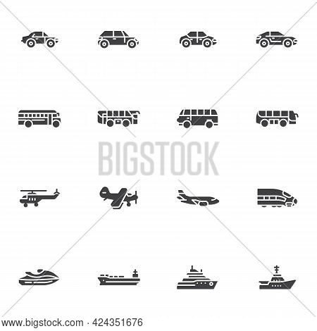 Transportation Vehicle Vector Icons Set, Modern Solid Symbol Collection, Filled Style Pictogram Pack
