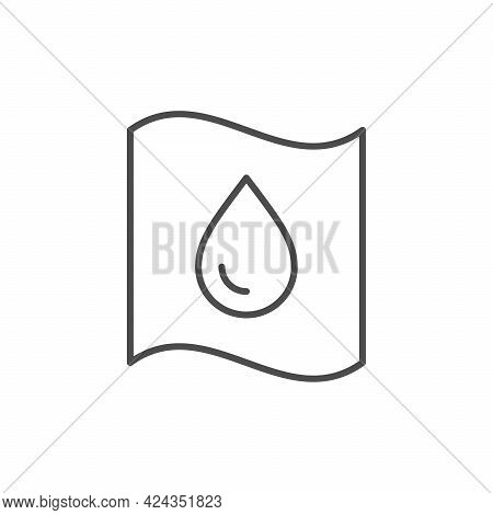 Waterproof Material Line Outline Icon Isolated On White