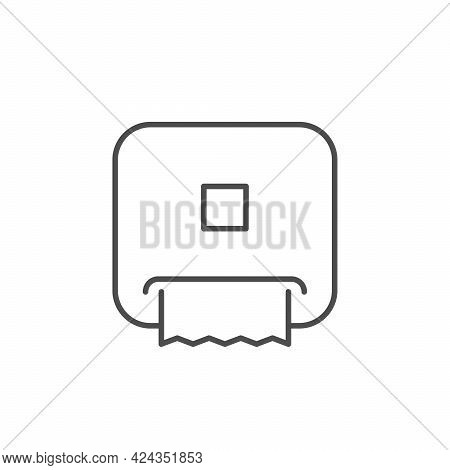 Paper Towel Dispenser Line Outline Icon Isolated On White
