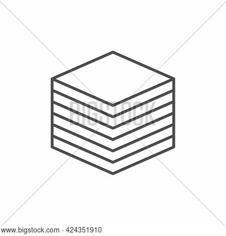 Napkins Stack Line Outline Icon Isolated On White